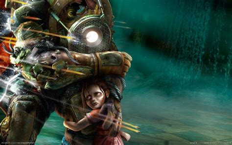 bioshock big daddy  sister video games wallpapers