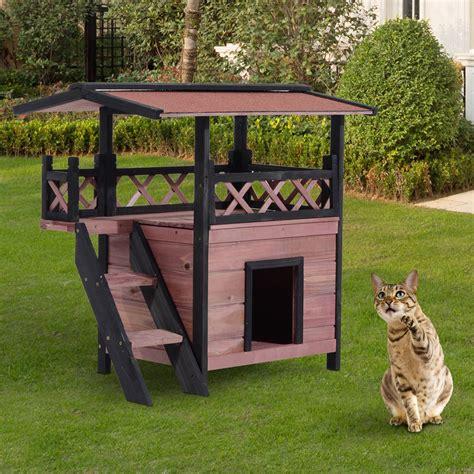 outdoor cat cage wood cat house puppy wooden garden den shelter kennel