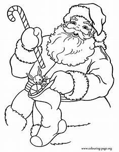 santa claus color page - christmas santa claus holding gifts coloring page