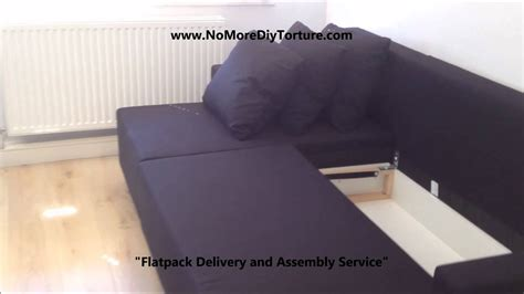 ikea lugnvik corner sofa bed  storage youtube