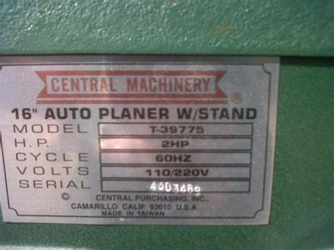 central machineryharbor freight planer  manual