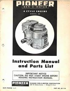 Find Pioneer Engine 4v Instruction Manual  U0026 Parts Guide