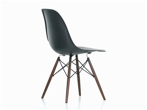 Buy the Vitra DSW Eames Plastic Side Chair Dark Maple Base