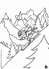 Coloring Skiing Boy Pages Winter Ski Print sketch template
