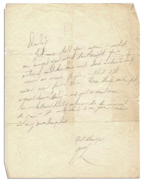 lot detail personal judy garland handwritten letter