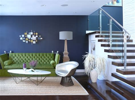 Navy Blue Couches Living Room Transitional with Side