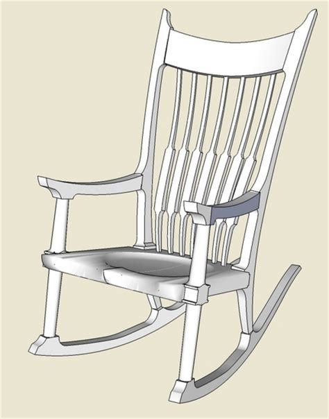 maloof rocker roughing  sketchup finewoodworking