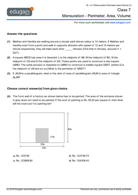 grade  math worksheets  problems mensuration