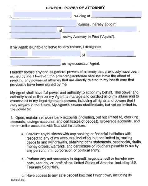 20938 financial power of attorney form free kansas durable financial power of attorney form pdf
