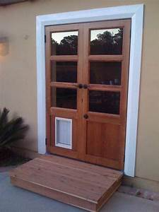 Handmade custom french doors with dog door by glerup for Door with dog door in it