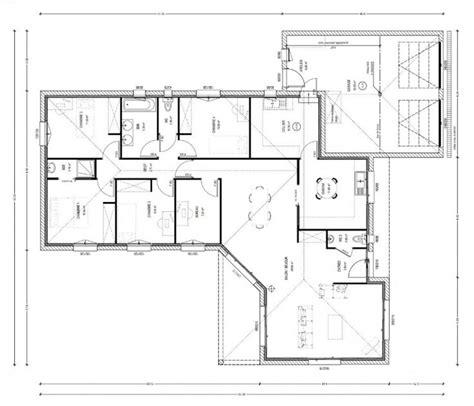plan maison 100m2 4 chambres plan maison 130m2 4 chambres
