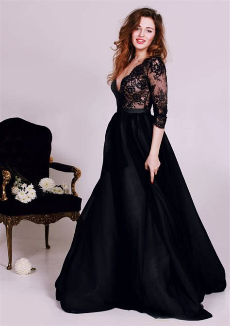 Prom Dresses Black Deep V Neck Lace Formal Occasion Dress