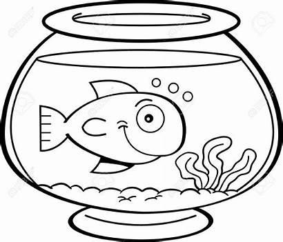 Bowl Fish Clipart Cartoon Coloring Pages Drawing