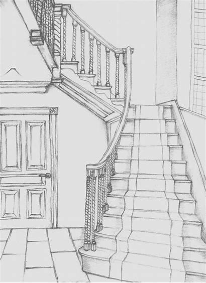 Drawings Sketches Staircase Drawing Designs Perspective Wall