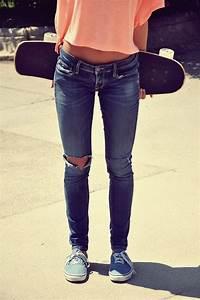 skateboard vans skinny jeans peach shirt | My Style ...