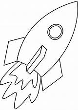 Rocket Coloring Simple Line Pages Ship Rockets sketch template