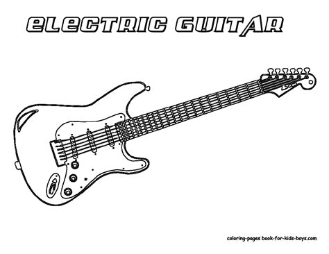 electric guitar coloring pages band instruments guitar