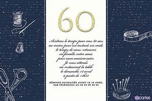 Faire Part Anniversaire 60 Ans : invitation anniversaire 60 ans sur tissus 123cartes ~ Melissatoandfro.com Idées de Décoration