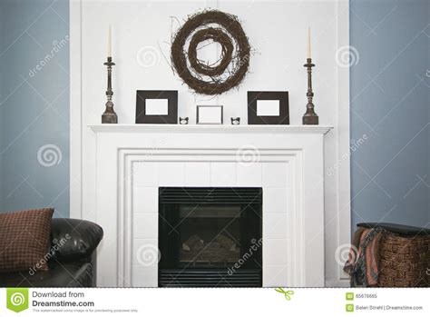 Rustic Decorated Fireplace And Mantel Stock Photo Image