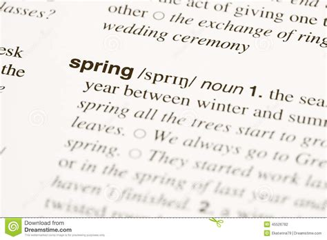 Definition Word Spring In Dictionary Stock Photo