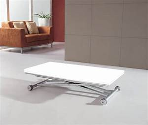 Table Basse Relevable Blanche : table basse relevable blanc laque ~ Teatrodelosmanantiales.com Idées de Décoration