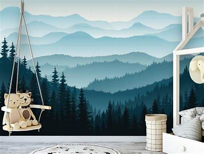 Wall Mural Removable Mountain Nursery Ombre Peel