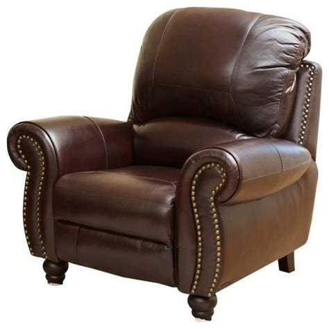 abbyson living herzina leather pushback reclining armchair