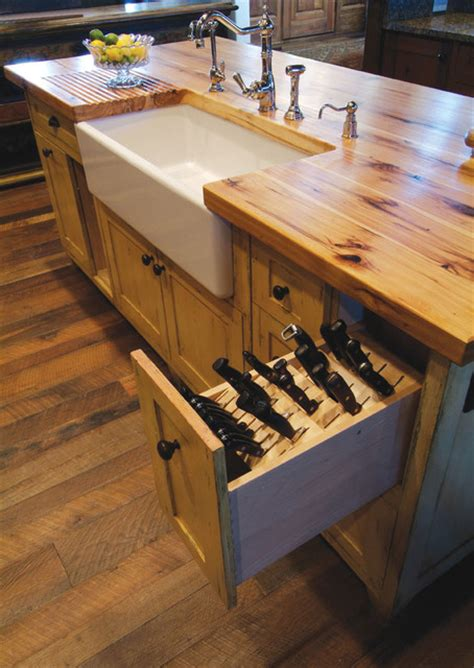 kitchen island with drawers butcher block island with porcelain sink and knive storage pull out drawer rustic kitchen