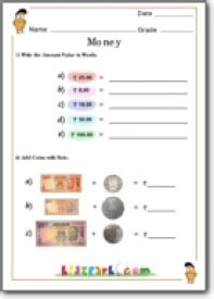 money addition worksheets based  ncert syllabus kids
