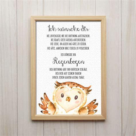 Smart Kunstdrucke by Ich W 252 Nsche Dir Regenbogen Kunstdruck Din A4 Eule Spruch