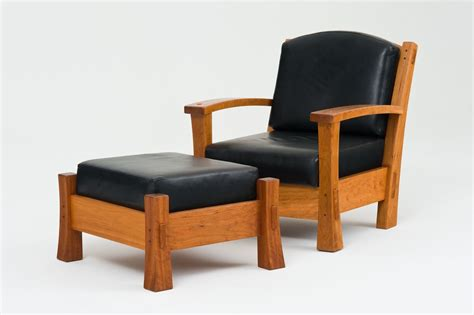 furniture black wooden chair and ottoman with