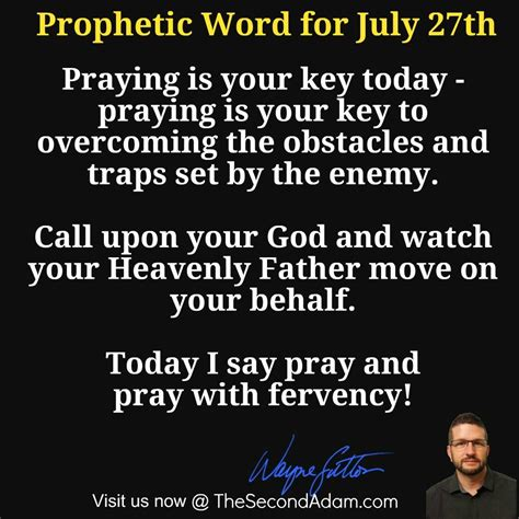 » July 27 Daily Prophetic Word Of God