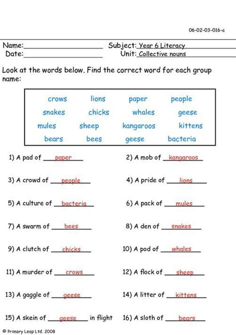 collective nouns worksheet grade 5 search