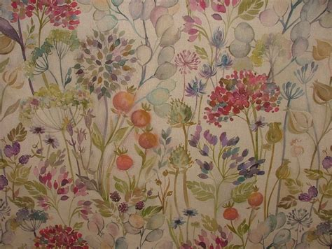 Floral Upholstery Fabric by Voyage Decoration Hedgerow Linen Floral Designer Curtain