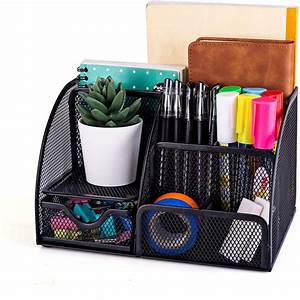 Mdhand, Office, Desk, Organizer, And, Accessories, Mesh, Desk, Organizer, With, 6, Compartments, Drawer
