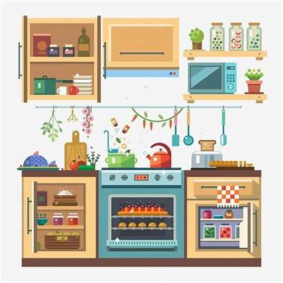 Kitchenware Vector Flat Illustration Devices Refrigerator مطبخ
