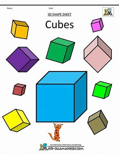 Shapes Cubes Math Clip Clipart Worksheets Shape