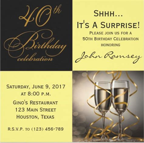 40Th Birthday Invitations 14 + Free Psd Vector Eps Ai