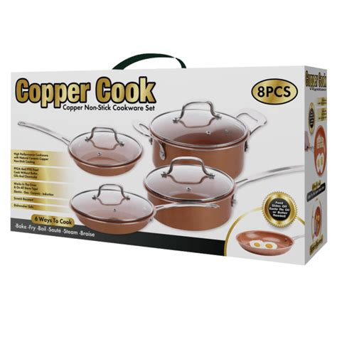 copper cook  piece nonstick copper pan set