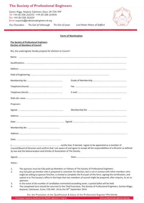 spe agm formal notice agenda nomination form