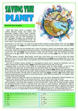 esl pollution worksheets