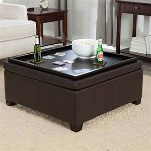 Living room leather ottoman coffee table with coffee for White coffee table with brown top