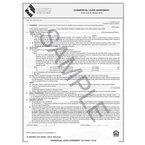 cl commercial lease agreement car business products