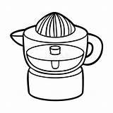 Cartoon Appliances Coloring Electric Citrus Juicer Weissem Kuechengeraete Schwarzem Farbbuch Dictionary Names Visual Steamer sketch template