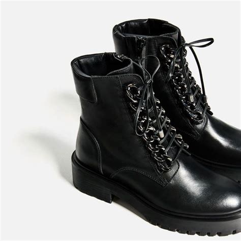 Image Chain Detail Leather Ankle Boots From Zara
