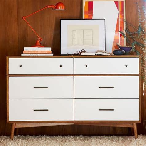 west elm dresser mid century 6 drawer dresser white acorn west elm