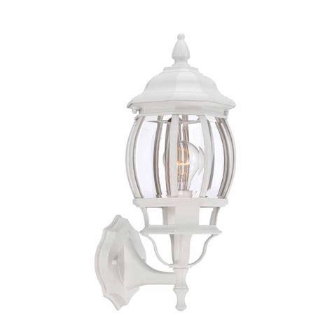 hton bay 1 light white outdoor wall lantern hb7027 06