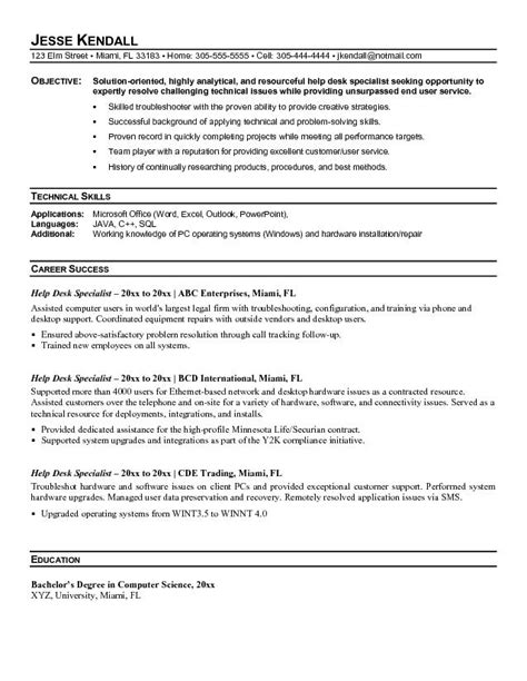 Help Desk Support Specialist Resume by Exle Help Desk Specialist Resume Sle