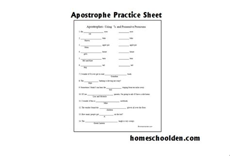 Free Apostrophe Worksheet  Homeschool Den