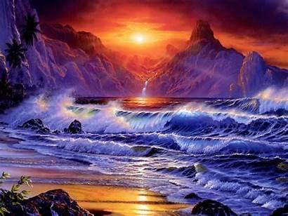 Sunset Waves Dark Sea Sky Shore Mountains